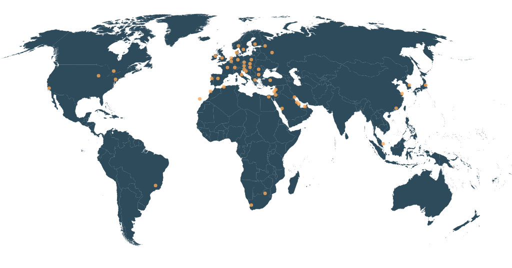 Triplar locations around the world